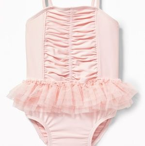 Pink Ruched Tutu Swimsuit for Baby Sz 12-18